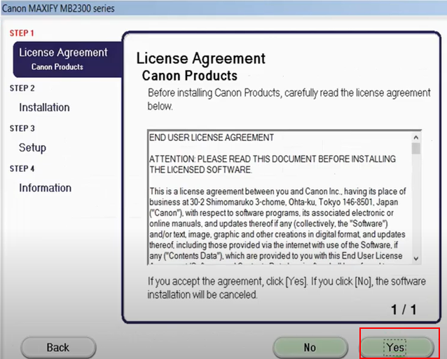 License Agreement for Canon Color IMAGECLASS MF746CDW